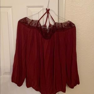 CLEARANCE: Burgundy dressy blouse